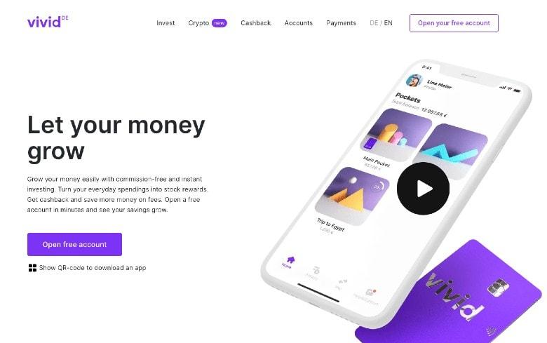 Screenshot of Vivid Money Homepage