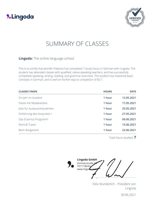 Example of Lingoda's summary of classes
