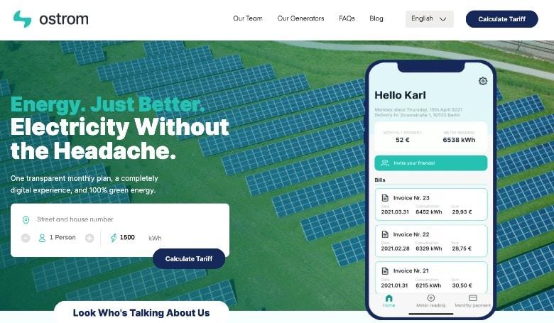 Screenshot of Ostrom Homepage