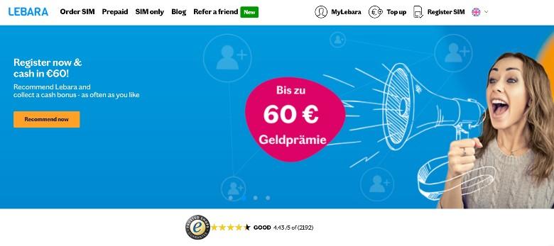 Screenshot of Lebara Homepage